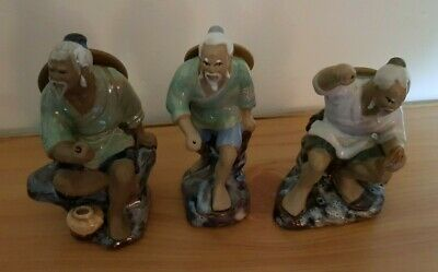 Vintage Chinese Mudmen Fishermen Ceramic Figures Ornaments 3 of 6 Lots