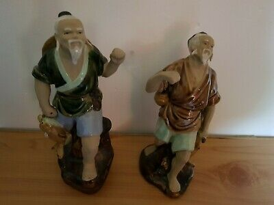 Vintage Chinese Mudmen Fishermen Ceramic Figures Ornaments 6 of 6 Lots
