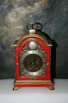 Elliott London Chinoiserie Red Lacquered Carriage / Bracket Clock.