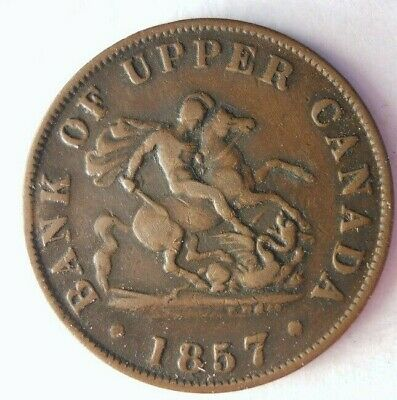1857 UPPER CANADA 1/2 PENNY - High Quality Coin - Big Value - Lot #M27