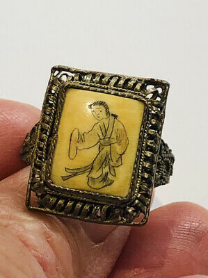 Antique Chinese Hand Painted Ring  , Filigree ,