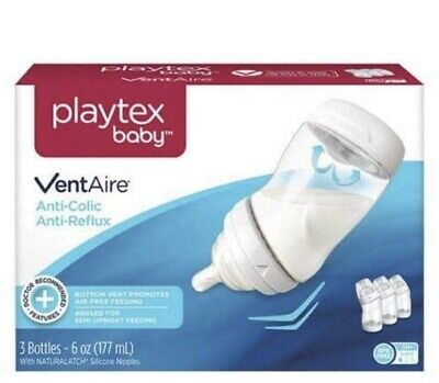 Playtex Baby Ventaire Anti Colic Baby Bottle, BPA Free, Clear 6 Ounce - 3 Pack