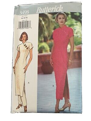 Butterick 3498 Dress Pant Ao Dai Vietnamese Oriental Sewing Pattern 12 14 16