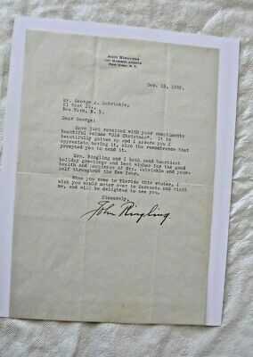 1932 TYPED LETTER (his stationary) SIGNED BY JOHN RINGLING with RR COA