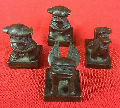 Lot of 4 Antique Bronze Brass Chinese Name Seals Stamps Fu Dog Foo Lion Dragon