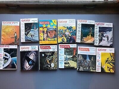 Galaxy Magazine Lot All Wally Wood Issues Virgil Finlay 12 60's Sci-Fi Pulps