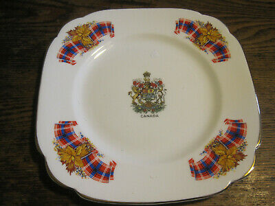 "Windsor Bone China England Royal Canadian Tartan 7.75"" Square W/Gold Plate"