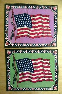 2 Usa 48 Star Tobacco Cigar Felt Flags Early Great Color Flags United States