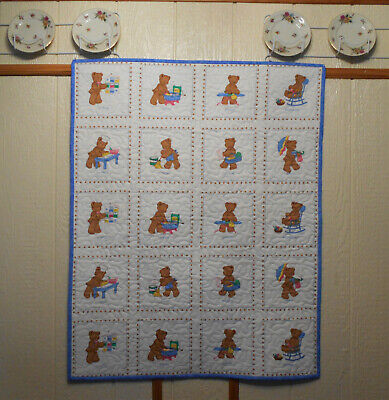 """Finished """"Days of The Week"""" Bear Baby Quilt 34"""" X 43"""""""