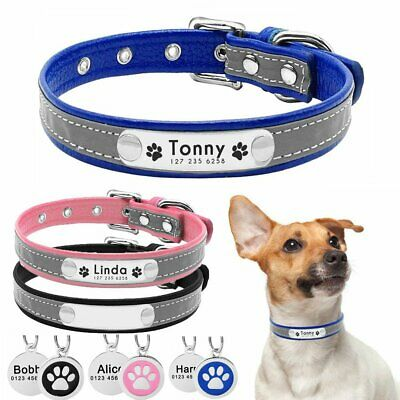 Personalized Dog Collar Reflective Learher Free Engraved Nameplate ID Tag XS S M