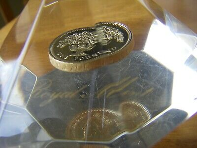 Royal Mint Vintage Acrylic Diamond Shape Paperweight 1987 One Pound Coin