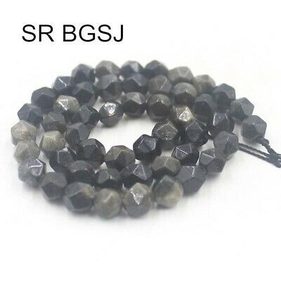 """Natural Round Polygonal Faceted Obsidian Gemstone DIY Beads Strand 14"""" 8mm"""