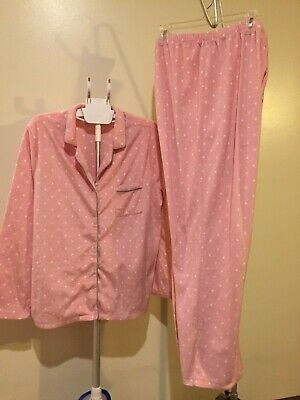 Adonna pajama set, XL long pants & sleeves, soft, Pink with white polka dots