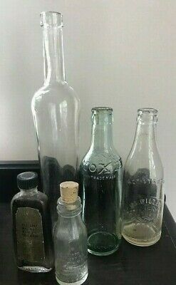 Vintage Glass Bottles Thomas Edison and More lot of 5