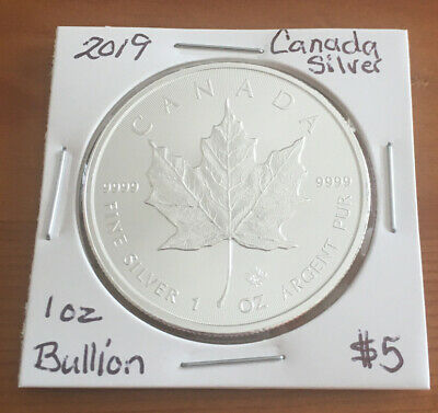 2019 Canada $5 1oz Silver Maple Leaf Bullion Coin .9999 Fine BU dollar round