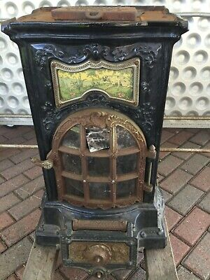 Antique French Cast Iron Stove wood burning old beautiful stove needs repairNICE