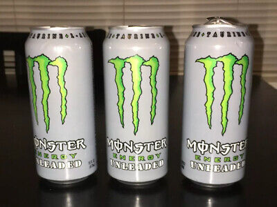 3 - Monster Energy Unleaded  Discontinued 16 oz FREE SHIPPING