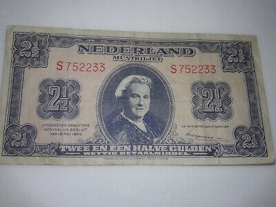 1 1945 NETHERLAND NEDERLAND 2 1/2 GULDEN BANKNOTE WILHELMINA Preowned circulated