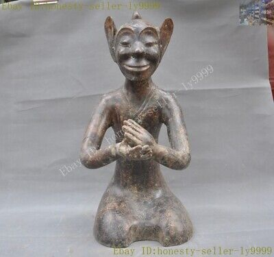 China chinese Ancient bronze servant Kneeling man people person statue sculpture