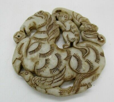 Beautiful Old Antique Chinese Qing Dynasty Jade Carved Pendant Beast & Monkey