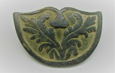 Ancient Byzantine Bronze Crusaders Buckle Shaped Like A Shield W/ Bird Depiction