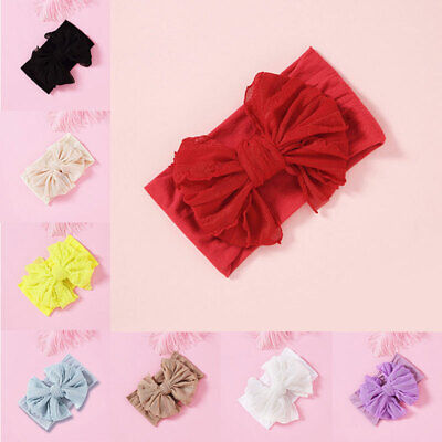 Baby Girl Cute Elastic Soft Bowknot Headband Wide Kids Hair Band Headwrap Ribbon