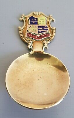 Vintage Brass Tea spoon By Peerage made in England with coat of arms