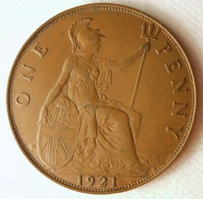 1921 GREAT Britain PENNY - High Quality Coin Britain Bin G