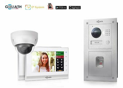 GOLIATH IP GL-IP186 Türsprechanlage Fingerprint IP Cam 2x Monitor Unterputzdose