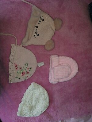 Baby Girl 0-3 Months Hat Bundle X 4 Vgc Two Bnwt next knitted h n m