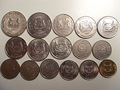 - Singapore Coin Lot Of 16  Coins(50,20,10,5 Cents) - No Duplicates - 1985-2009