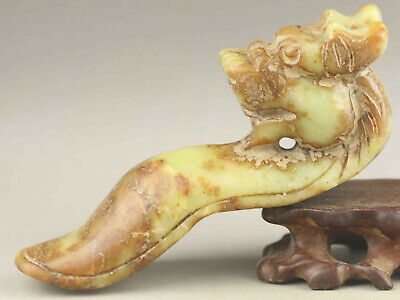 Chinese old natural jade hand-carved statue dragon pendant 5 inch