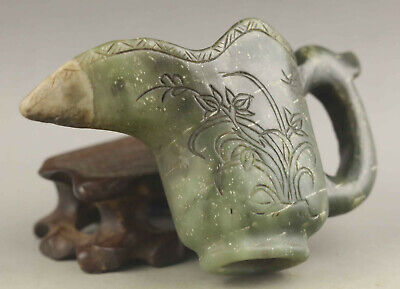 Chinese old natural hetian jade hand-carved statue flower cup 3.9 inch