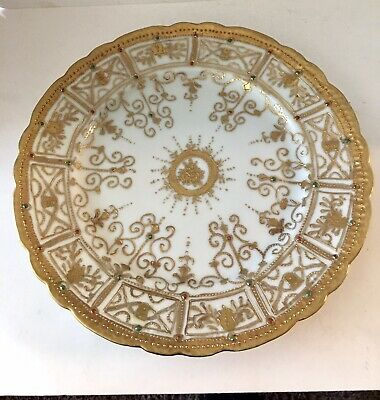 Antique Nippon Moriage Hand-painted Porcelain Plate Heavy Gold Beaded 9""