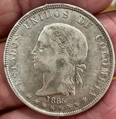 1885 COLUMBIA SILVER COIN 5 DECIMOS MEDELLIN MINT FINE to VF PROBLEM FREE NICE