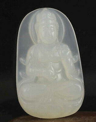 Chinese old natural jade hand-carved statue buddha pendant 2.2 inch