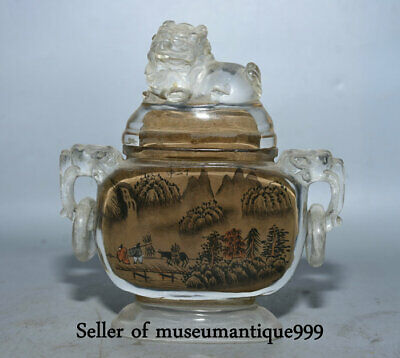 """5"""" Old China coloured glaze Painting Dynasty Hill River Beast Ears Snuff Bottle"""
