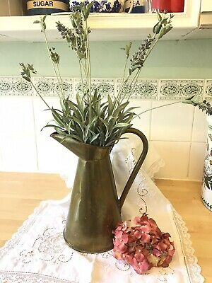 Old Rustic Vintage Brass Pitcher. (repair to handle.)see Photos.