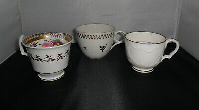 Three Hand Painted Antique Cups