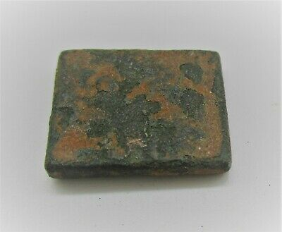 Authentic Byzantine Period Bronze Cube Solidus Weight 7G