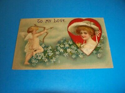 Antique Postcard VALENTINE's DAY Lady portrait in Heart Clapsaddle Germany 1908