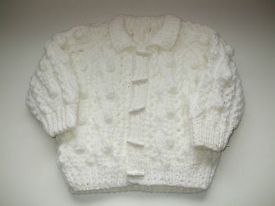 White Baby Cardigan With Toggle Buttons 3 - 6 Month Baby, Handmade Knitted - New