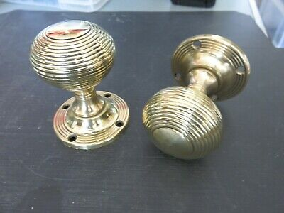ONE PAIR OF CIRCA 1960s  BEEHIVE BRASS DOOR KNOBS  POLISHED