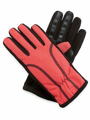 Isotoner Womens SmarTouch Fleece Lined Texting Winter Gloves - Coral and Black