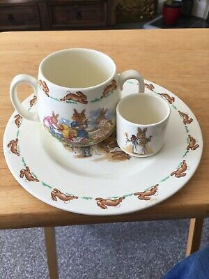 """Bunnykins Fine Bone China X4 8"""" plate Egg Cup Double Handled Cup 6.5""""Bowl"""