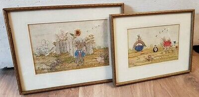 2 x Mouse and Bird cartoon embroidery pictures dated 1949 Collectors rare