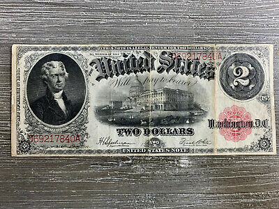 Series Of 1917 $2 Two Dollar Large Size Red Seal Note