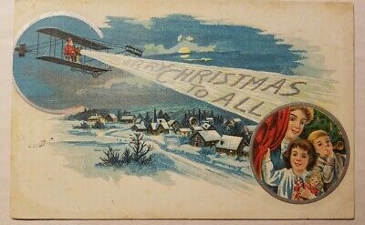 """Vintage1910 Postcard Santa in Airplane Beaming """"Merry Christmas To All"""""""