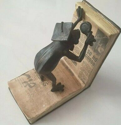 1 Old Metal Bookend Vintage Antique End Home Library Study Office Frog Professor
