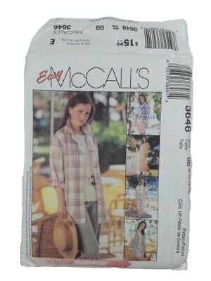 McCalls 3646 Misses Dress Top Shirt Jacket Pants Sewing Pattern Size 8-14 UNCUT